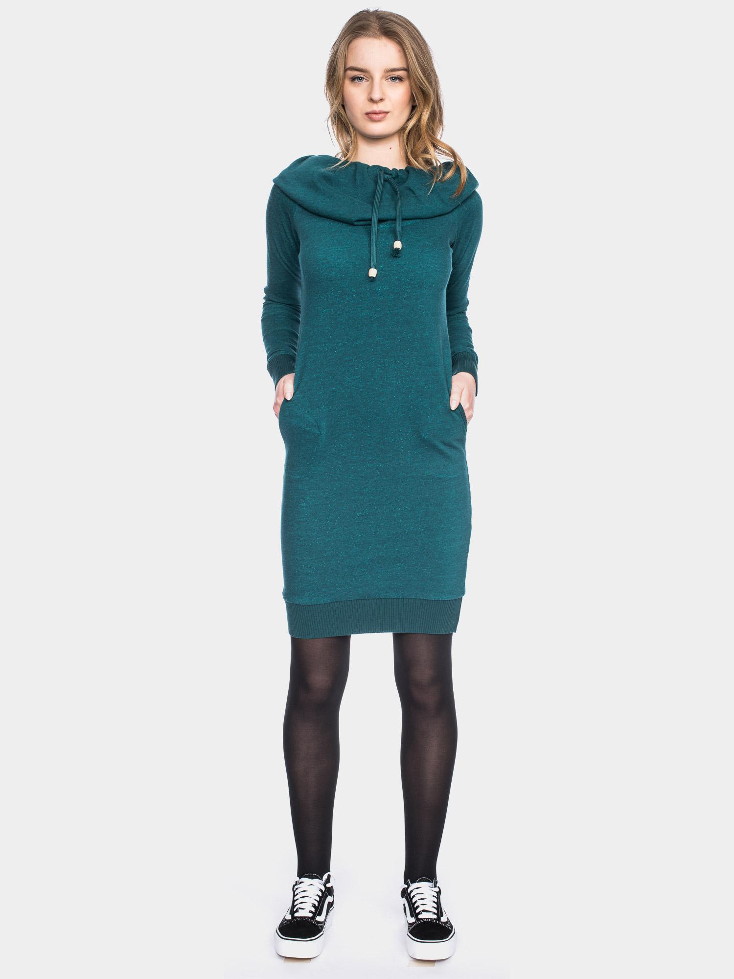 Langarm Kleid mit großer Kapuze