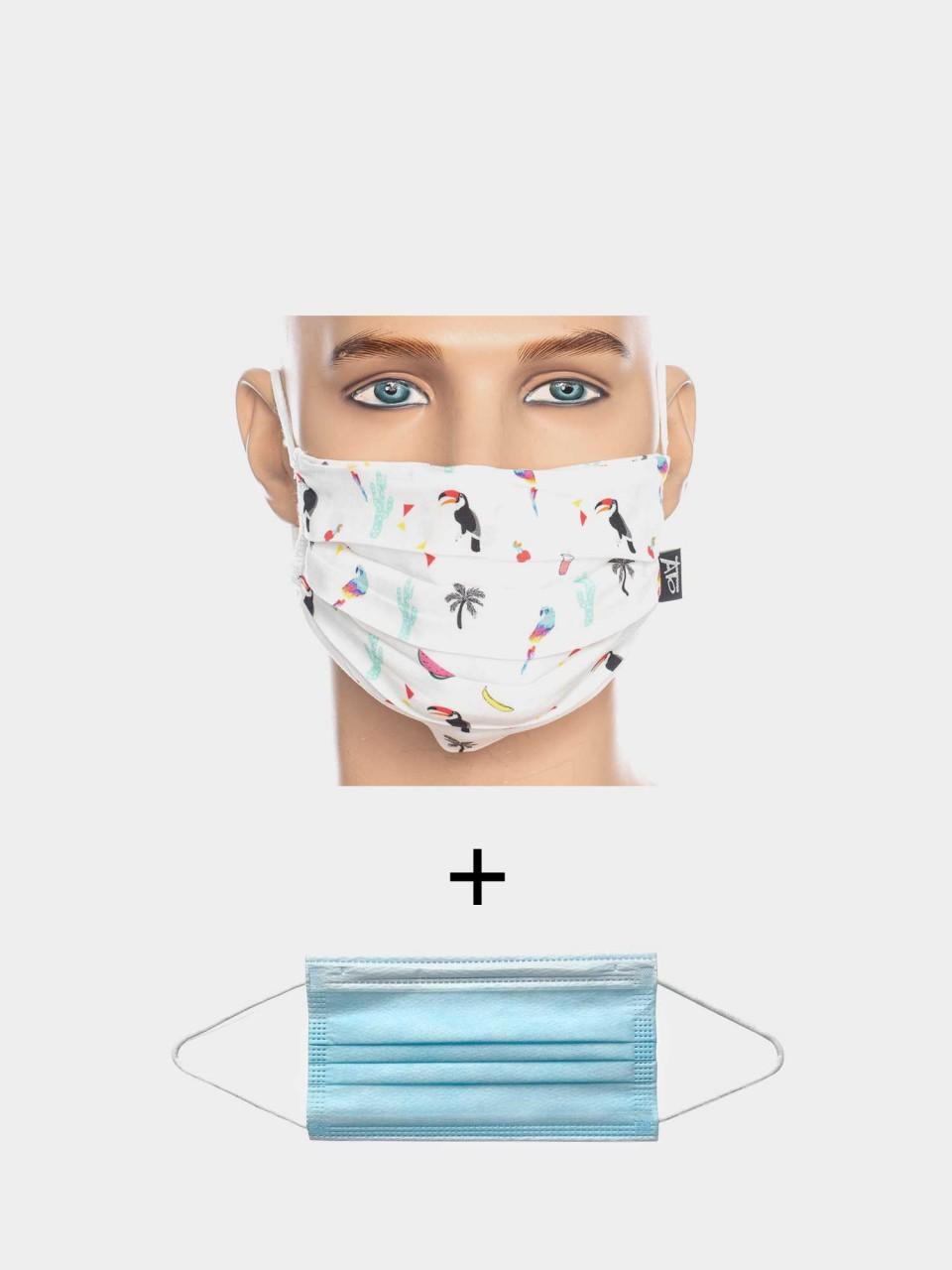 Maske ATO Tropical WHT/MULTI mit Einweg Maske