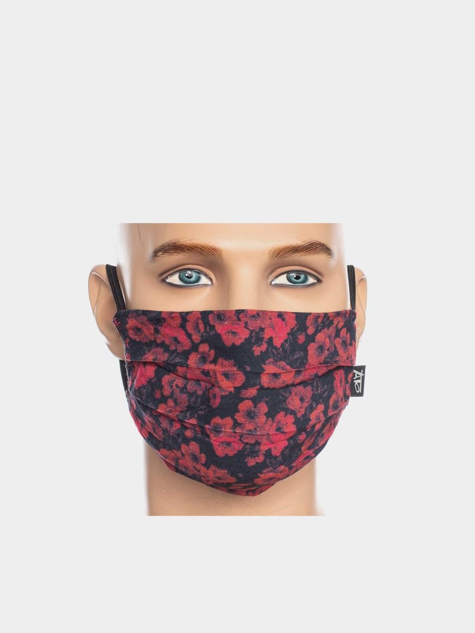 Maske ATO Rote Blumen BLK/RD