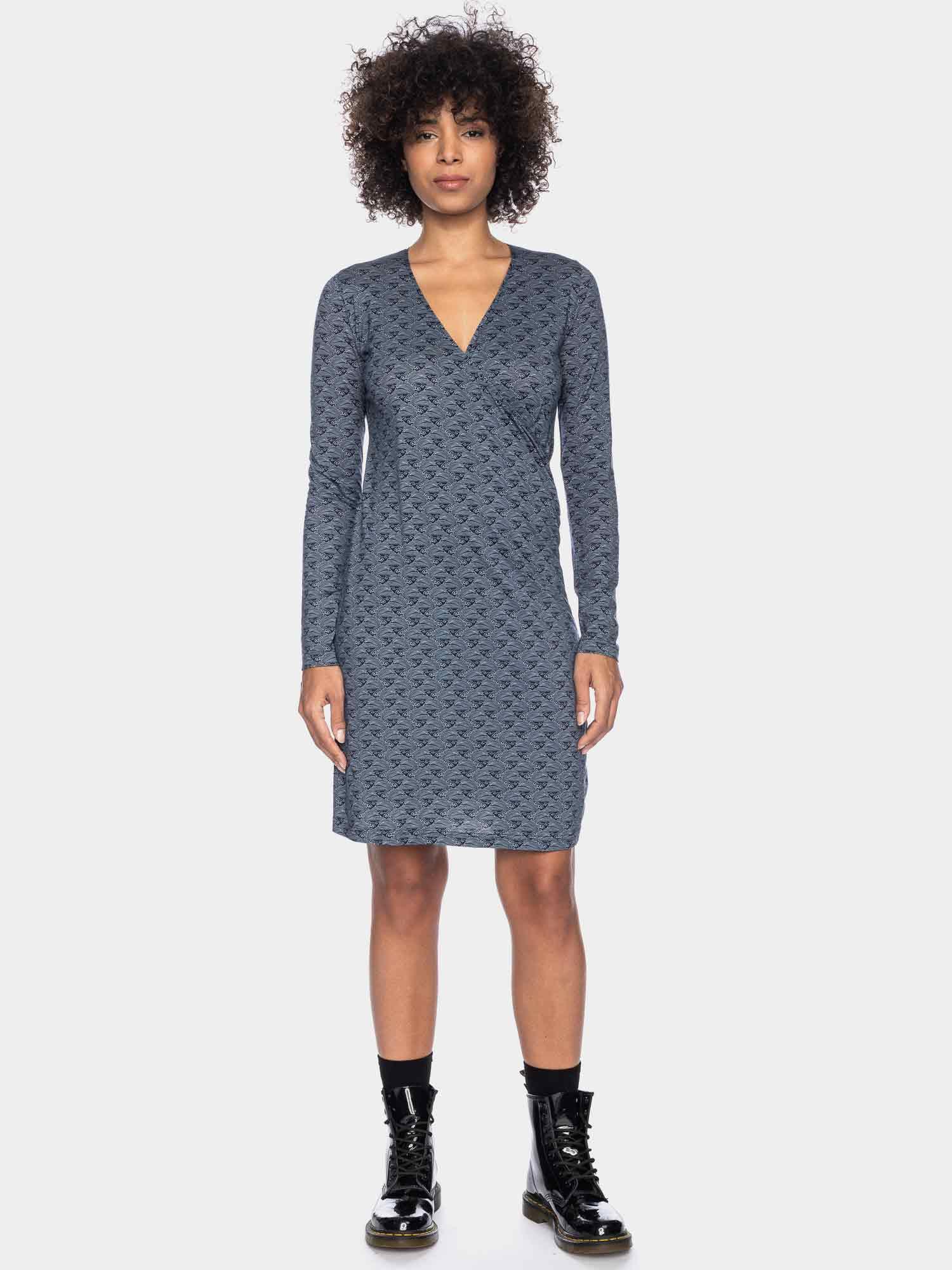 Henni - Langarm-Kleid blau gemustert