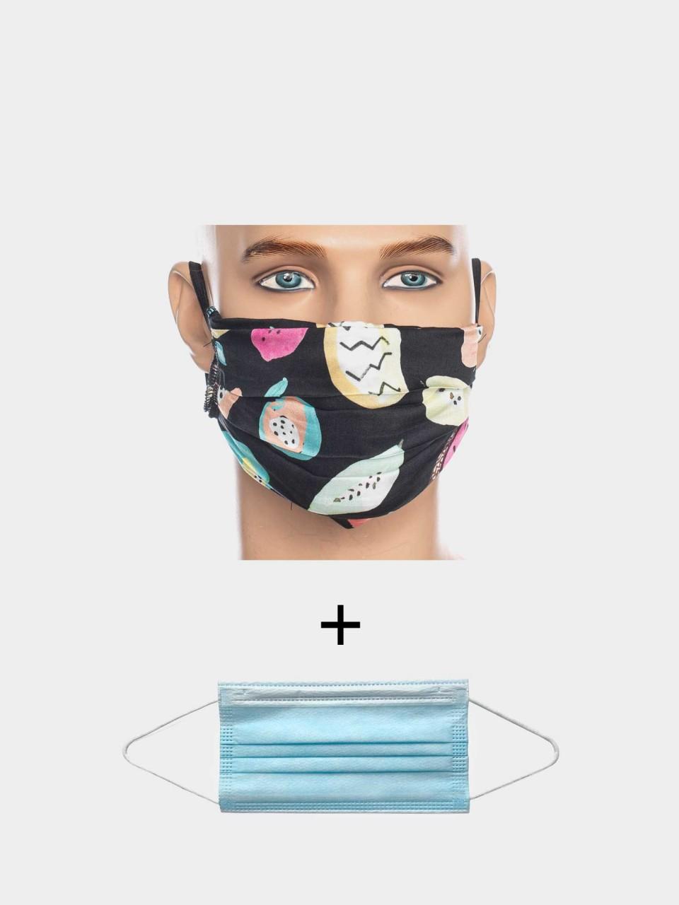 Maske ATO Früchte BLK/MULTI mit Einweg Maske