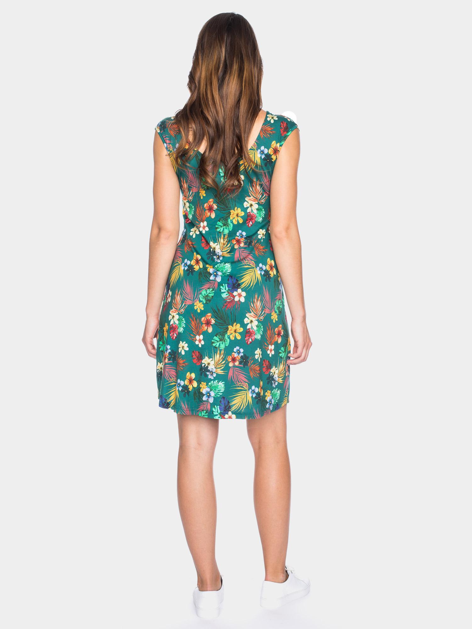 Süßes, verspieltes Sommerkleid in grün mit Tropenprint