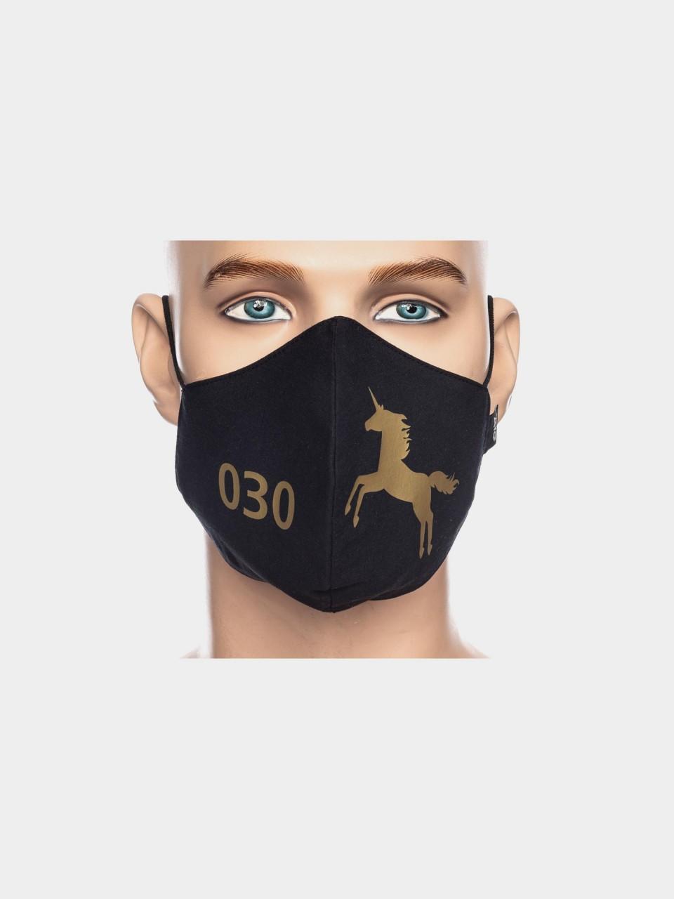 ATO Maske 030 Einhorn schwarz/gold
