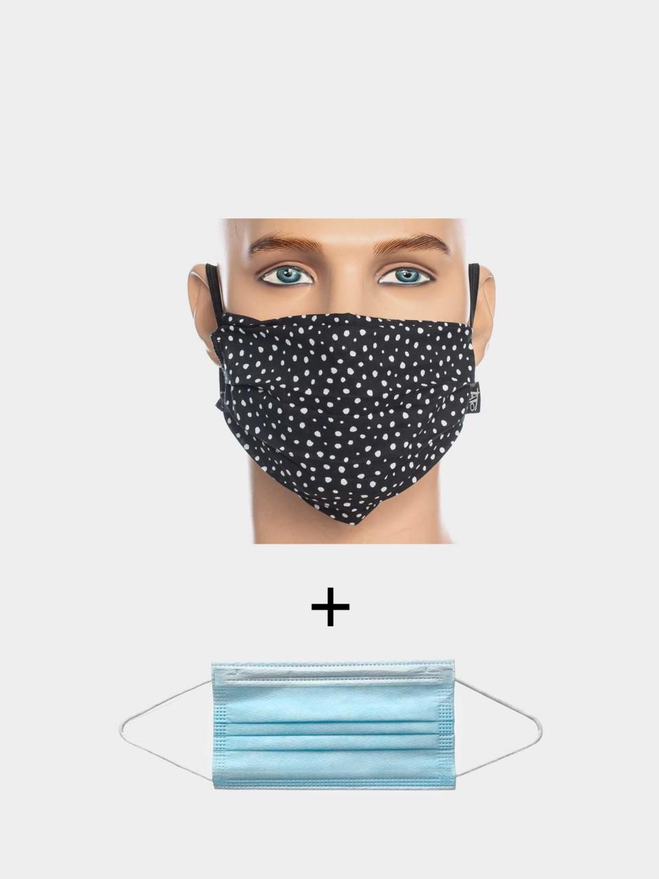 Maske ATO Tupfen BLK/WHT mit Einweg Maske