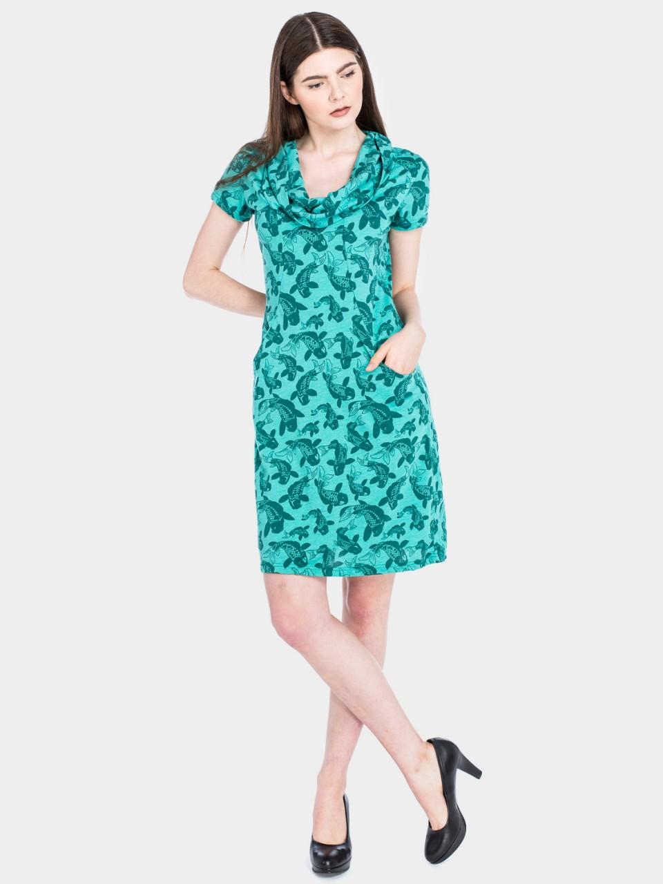 Kleid Erbse CO/PES 14/003 TRQ/GRN