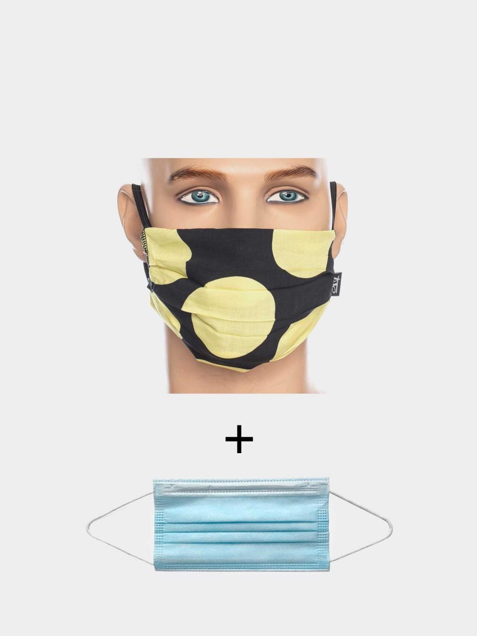Maske ATO Big Point BLK/YLL mit Einweg Maske