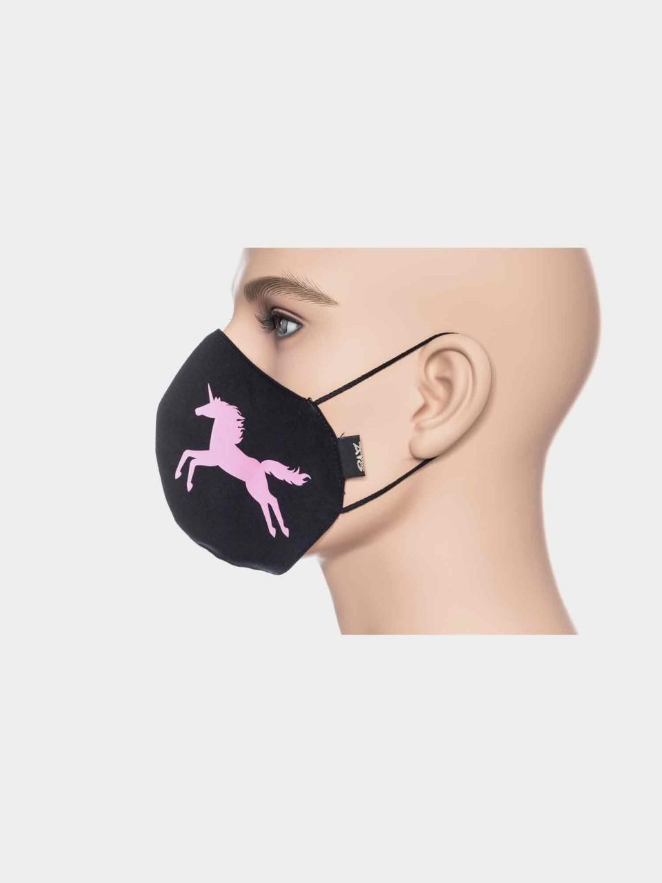ATO Maske Einhorn schwarz/pink