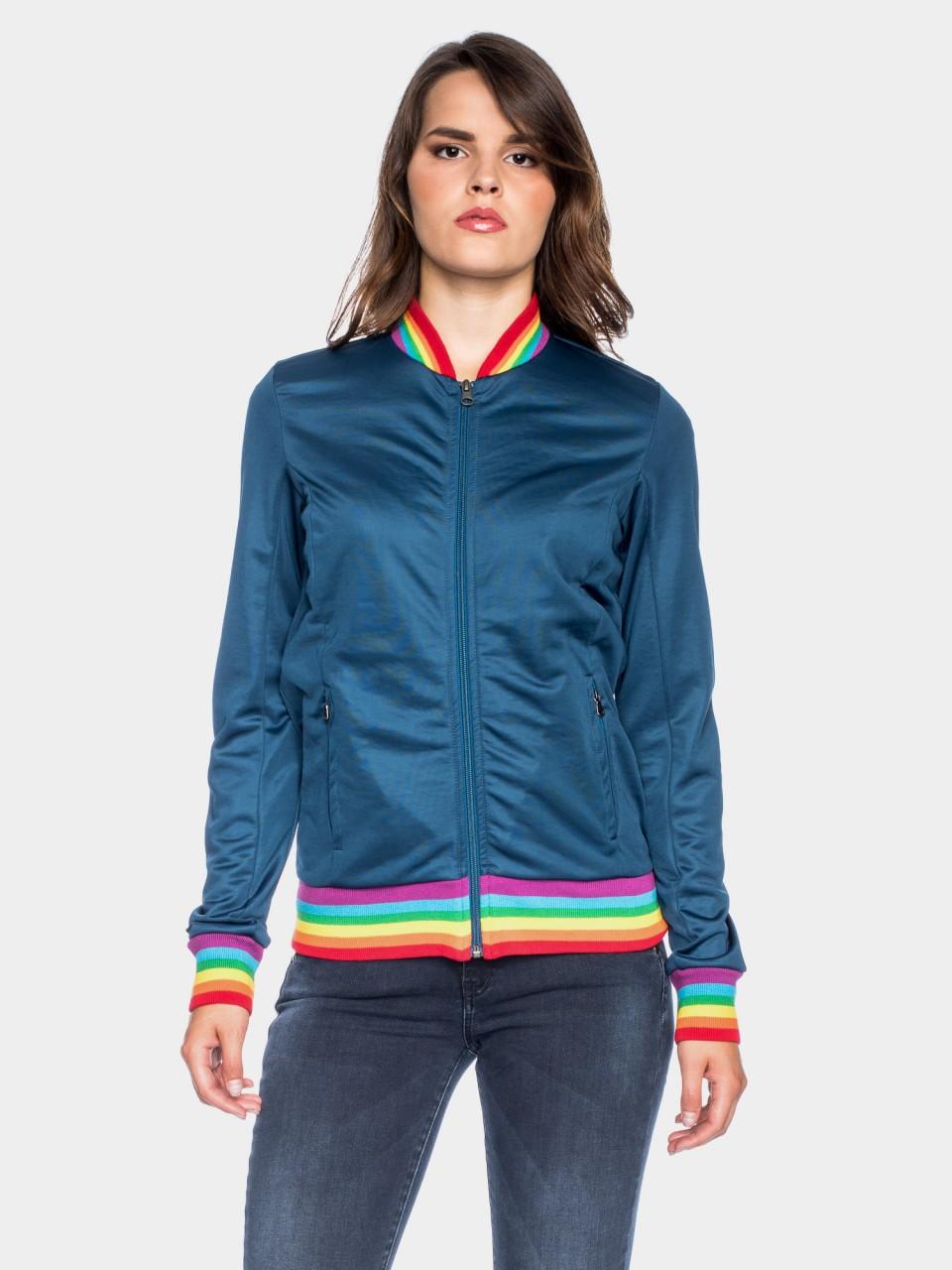 sportliche damen jacke in dunkelblau mit regenbogendetails. Black Bedroom Furniture Sets. Home Design Ideas