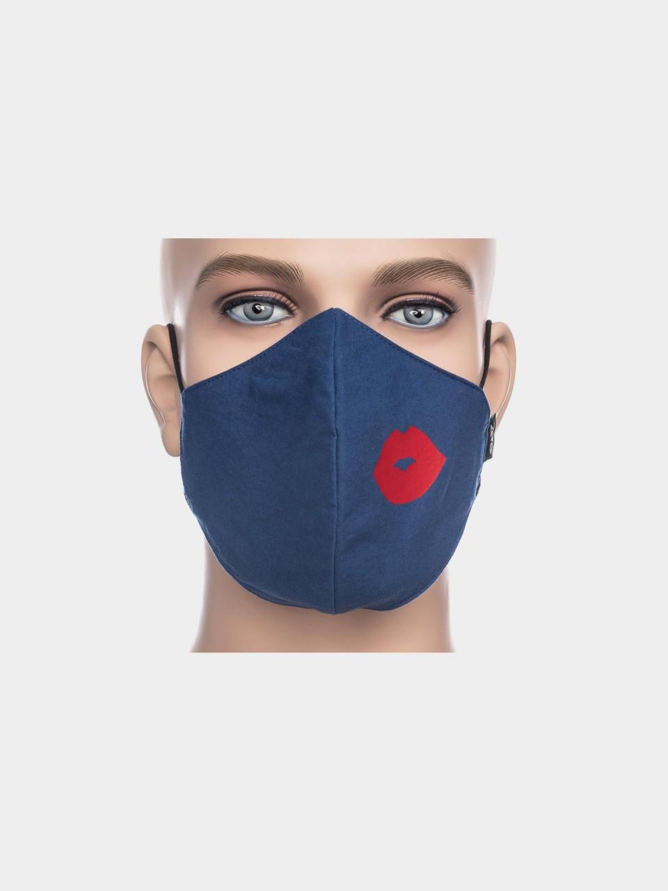 ATO Maske Kussmund blau/rot