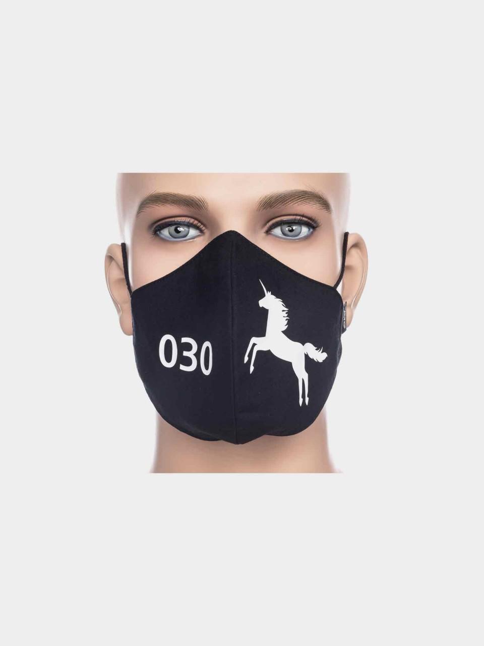 ATO Maske 030 Einhorn schwarz/weiß